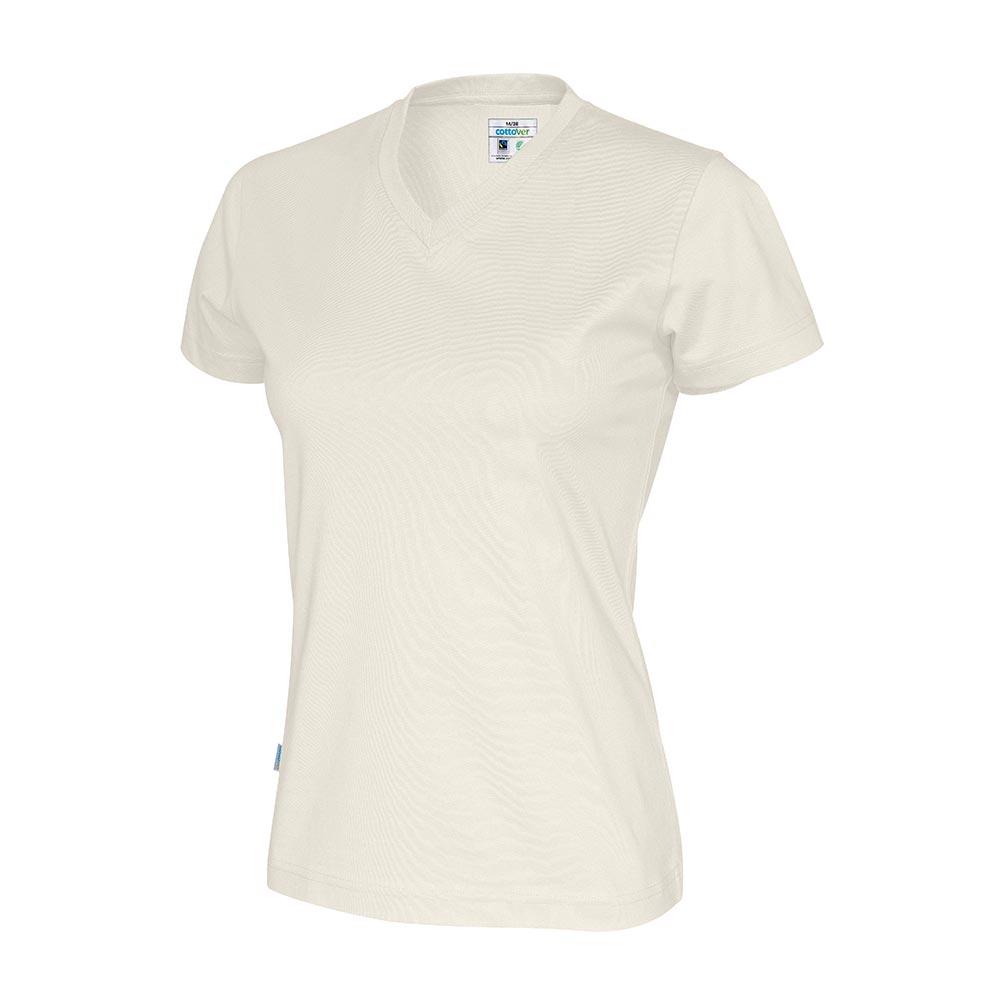 Cottover, T Shirt V Hals, Dame, Off White