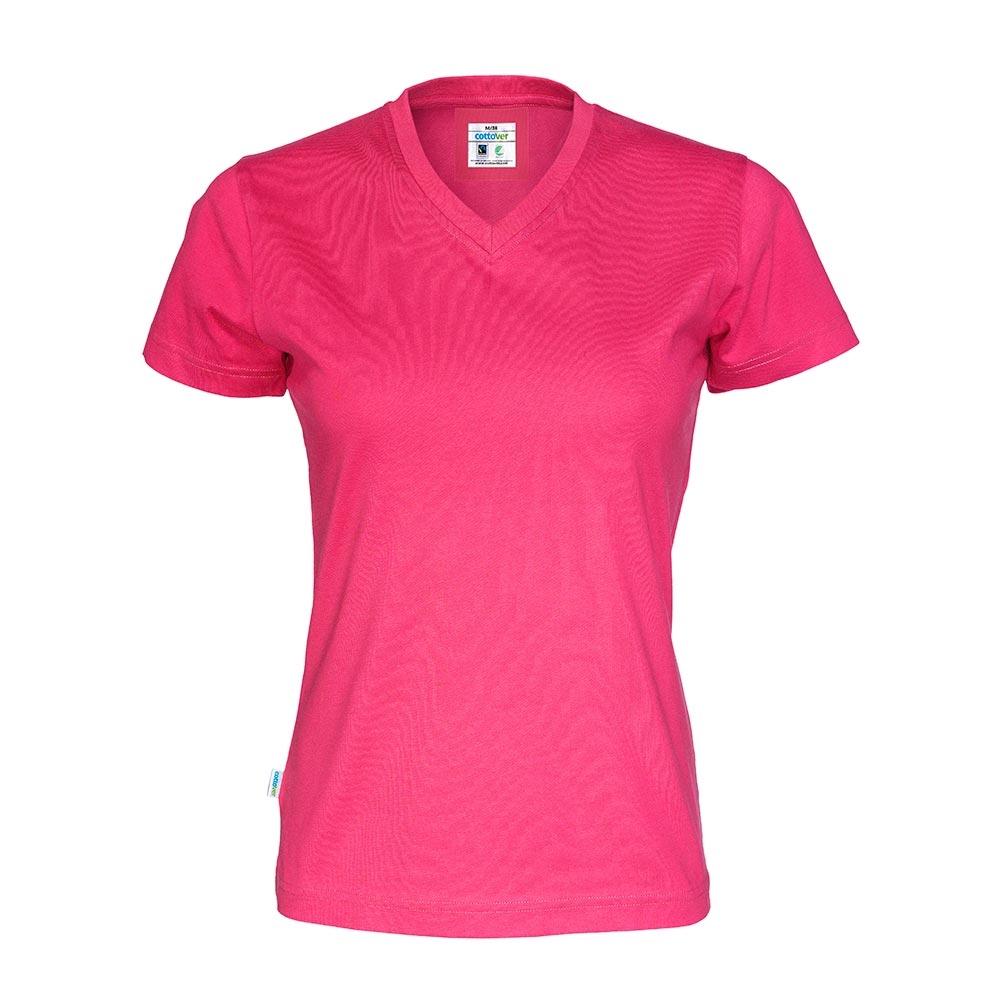 Cottover, T Shirt V Hals, Dame, Dark Cerise
