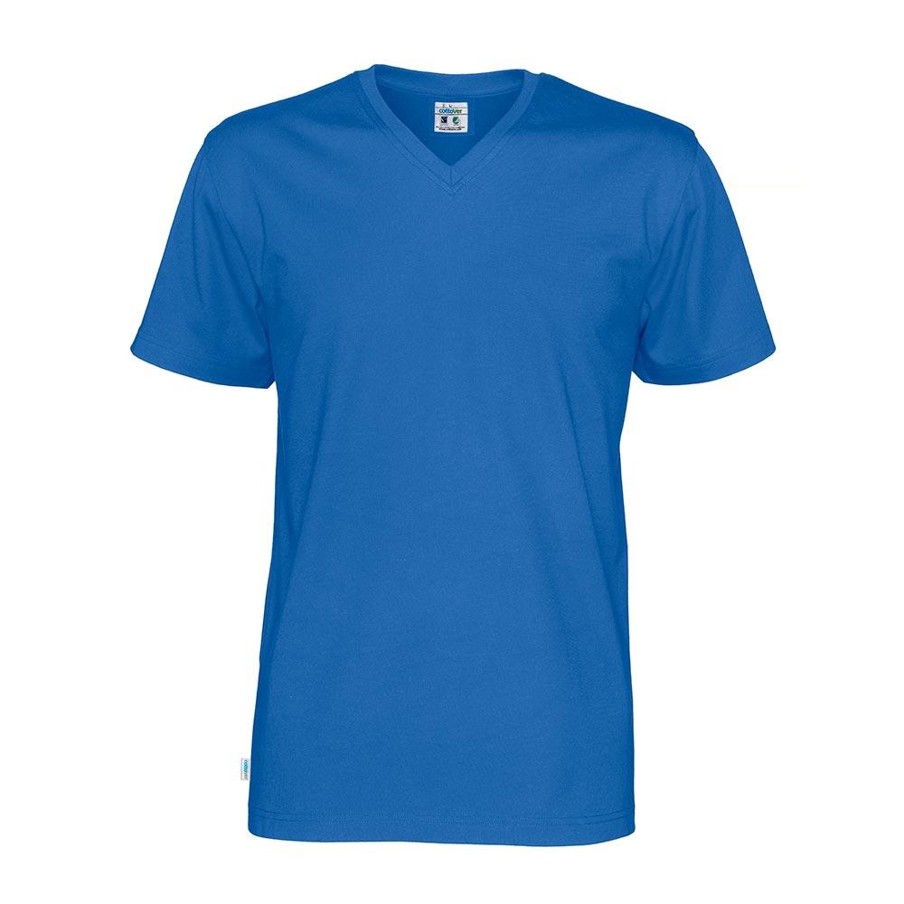 Cottover, T Shirt V Hals, Herre, Royal Blå
