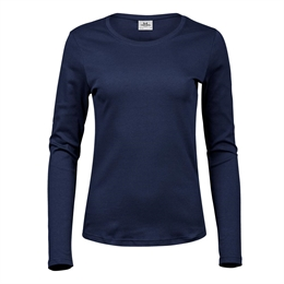 Tee Jays, Womens Long Sleeve Interlock Tee, Navy, Dame
