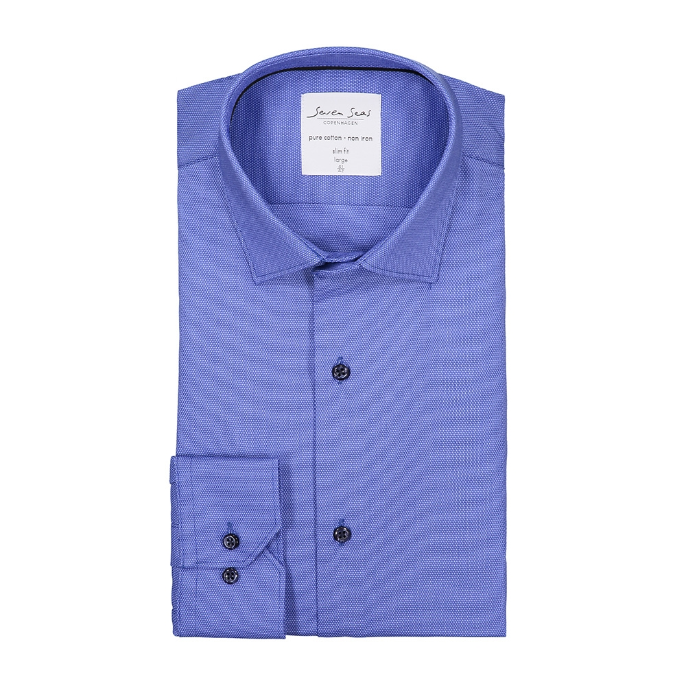 20b13d68829 Seven Seas, Dobby, Royal Oxford Skjorte, Slim Fit, Herre, Blå - b ...