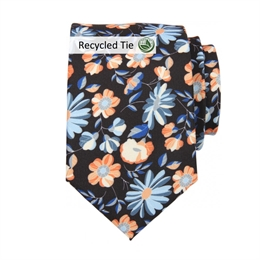 Slips, Mønstret Blå Grå Orange Sort, Recycled Tie
