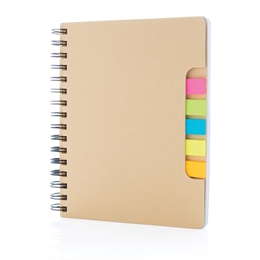 "A5 Kraft spiral notesbog med ""sticky notes"""